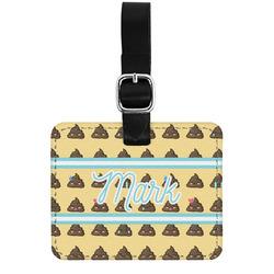 Poop Emoji Genuine Leather Luggage Tag w/ Name or Text