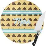 Poop Emoji Round Glass Cutting Board (Personalized)