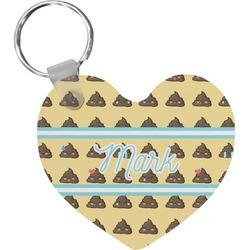 Poop Emoji Heart Keychain (Personalized)