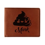 Poop Emoji Leatherette Bifold Wallet (Personalized)
