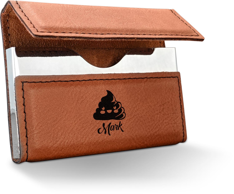 poop emoji leatherette business card holder personalized - Personalized Leather Business Card Holder