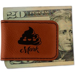 Poop Emoji Leatherette Magnetic Money Clip (Personalized)