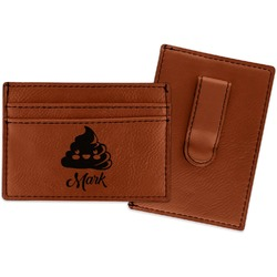 Poop Emoji Leatherette Wallet with Money Clip (Personalized)