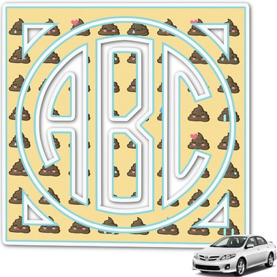 Poop Emoji Monogram Car Decal (Personalized)