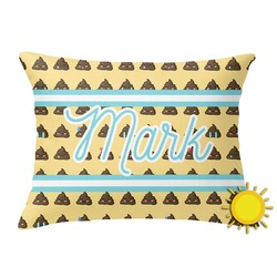 Poop Emoji Outdoor Throw Pillow (Rectangular) (Personalized)