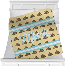"Poop Emoji Fleece Blanket - Twin / Full - 80""x60"" - Single Sided (Personalized)"
