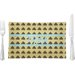 Poop Emoji Glass Rectangular Lunch / Dinner Plate - Single or Set (Personalized)
