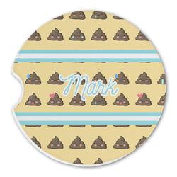 Poop Emoji Sandstone Car Coasters (Personalized)