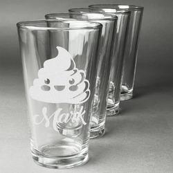 Poop Emoji Beer Glasses (Set of 4) (Personalized)