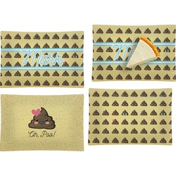 Poop Emoji Set of 4 Glass Rectangular Appetizer / Dessert Plate (Personalized)