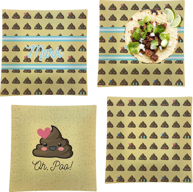 Poop Emoji Set of 4 Glass Square Lunch / Dinner Plate 9 5