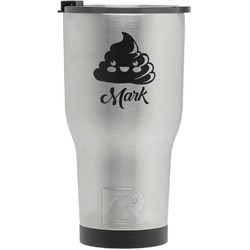 Poop Emoji RTIC Tumbler - Silver - Engraved Front (Personalized)