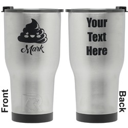 Poop Emoji RTIC Tumbler - Silver - Engraved Front & Back (Personalized)