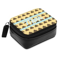 Poop Emoji Small Leatherette Travel Pill Case (Personalized)