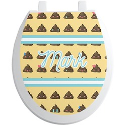 Poop Emoji Toilet Seat Decal - Round (Personalized)
