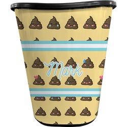 Poop Emoji Waste Basket - Double Sided (Black) (Personalized)