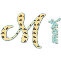 Poop Emoji Name & Initial Decal - Custom Sized (Personalized)