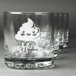 Poop Emoji Whiskey Glasses (Set of 4) (Personalized)
