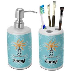 Sundance Yoga Studio Ceramic Bathroom Accessories Set (Personalized)