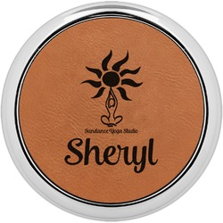 Sundance Yoga Studio Leatherette Round Coaster w/ Silver Edge - Single or Set (Personalized)