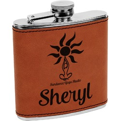 Sundance Yoga Studio Leatherette Wrapped Stainless Steel Flask (Personalized)