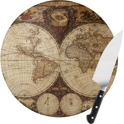 Vintage World Map Round Glass Cutting Board - Small