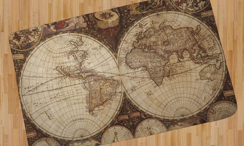 Vintage World Map Area Rug Youcustomizeit