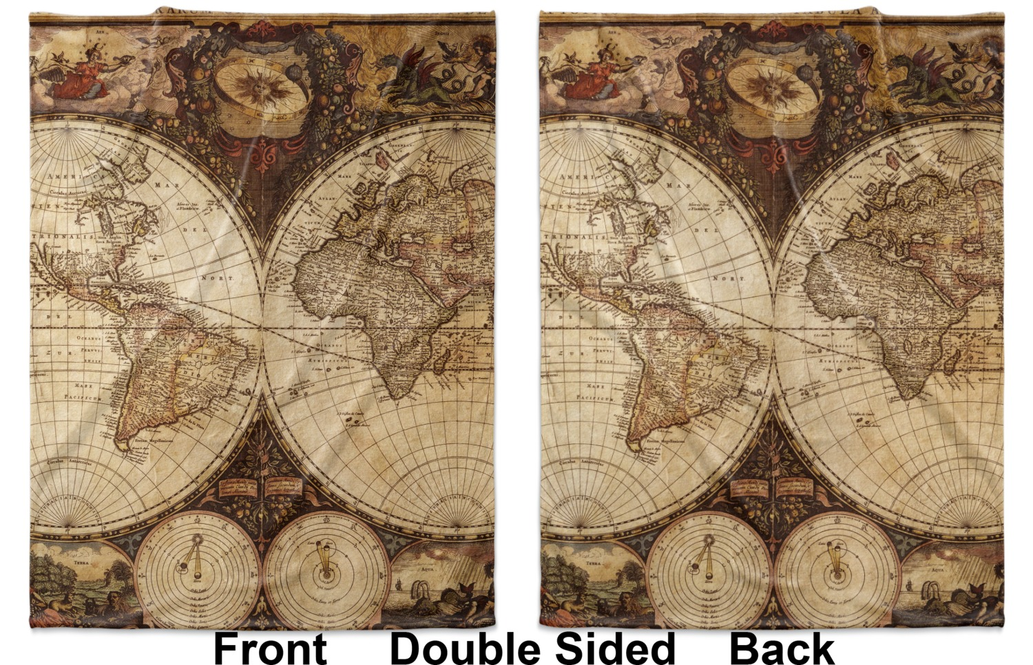 Vintage world map blanket youcustomizeit antique world map baby blanket double sided printed front and back gumiabroncs Image collections