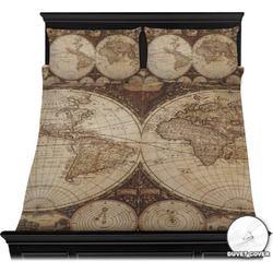 Vintage world map design 615 products available youcustomizeit vintage world map duvet cover set gumiabroncs Gallery