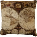 Vintage World Map Faux-Linen Throw Pillow