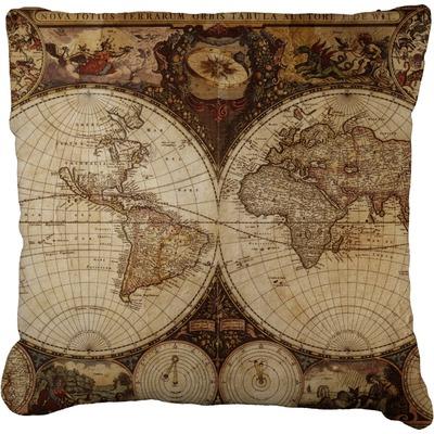 Vintage World Map Faux-Linen Throw Pillow