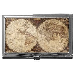 Vintage World Map Business Card Case