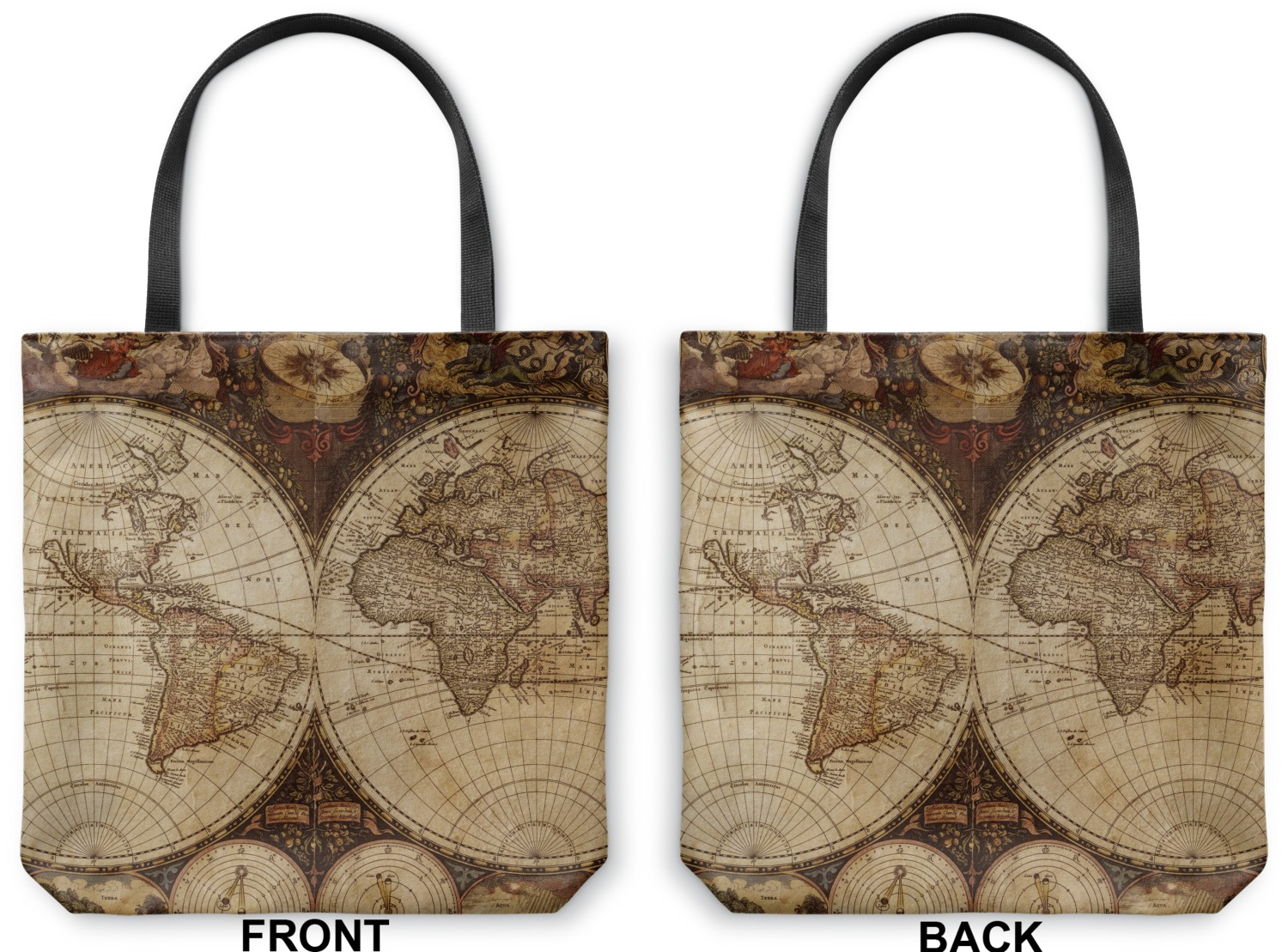Vintage world map canvas tote bag youcustomizeit antique world map canvas tote bag front antique world map canvas tote front and back gumiabroncs Image collections