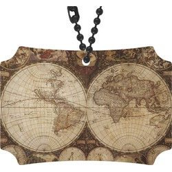 Vintage World Map Rear View Mirror Ornament