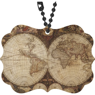 Vintage World Map Rear View Mirror Decor