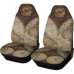 Vintage World Map Car Seat Covers (Set of Two)