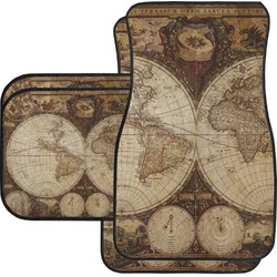 Vintage World Map Car Floor Mats Set - 2 Front & 2 Back