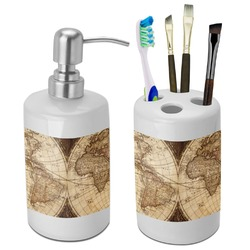 Genial Vintage World Map Bathroom Accessories Set (Ceramic)