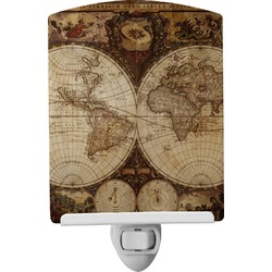 Vintage World Map Ceramic Night Light