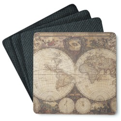 Vintage World Map 4 Square Coasters - Rubber Backed