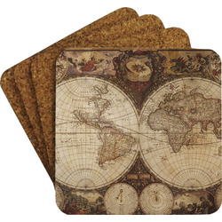 Vintage World Map Coaster Set w/ Stand