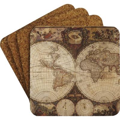Vintage World Map Coaster Set