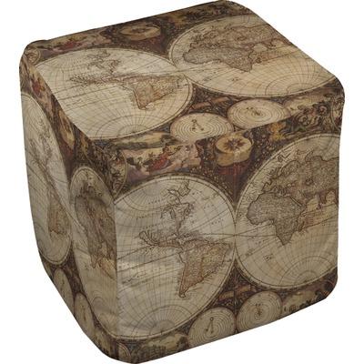 Vintage World Map Cube Pouf Ottoman