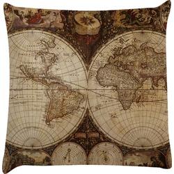 Vintage World Map Decorative Pillow Case
