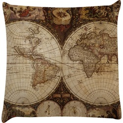Vintage World Map Decorative Pillow Case