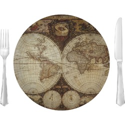 """Vintage World Map 10"""" Glass Lunch / Dinner Plates - Single or Set"""
