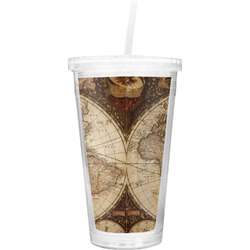 Vintage World Map Double Wall Tumbler with Straw