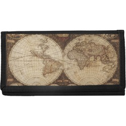 Vintage World Map Canvas Checkbook Cover