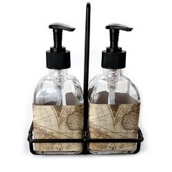 Vintage World Map Soap & Lotion Dispenser Set (Glass)