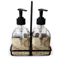 Vintage World Map Soap/Lotion Dispensers (Glass)